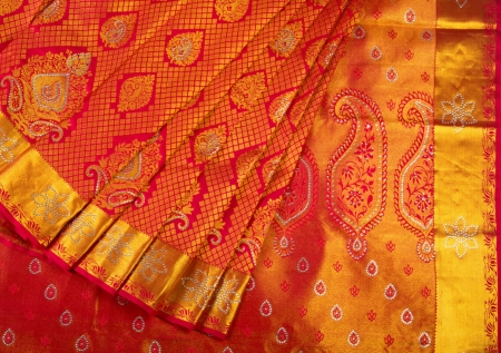 Red Brocade Saree